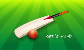 Shiny bat with red ball for Cricket. Cricket bat with red ball on green stadium with stylish text Lets Play Stock Images