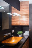 Shiny bathroom in dark colours. Sophisticated and elegant shiny bathroom in dark colours Royalty Free Stock Images