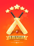 Shiny bats and ball for Cricket Champions League. Royalty Free Stock Photography