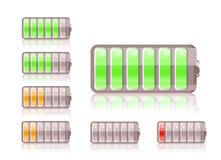Shiny battery icon set Stock Photo