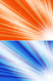 Shiny beams templates. Template backgrounds of shiny sunbeams in 2 different colors, white seperator line for easy copy paste in your project stock illustration