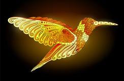 Shiny golden hummingbird. Shiny beautiful decorative hummingbird on dark background Stock Image