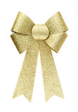 Shiny beautiful golden silver ribbon bow Stock Photo