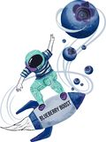 Vector Spaceman rocket skater. Boost your energy with some blueberries. Shiny and beautiful red tropical flowers. Love, exotic, smell of ocean. This is the topic Stock Illustration