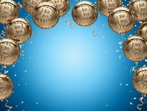 Shiny Bitcoin shaped balloons and empty copy space in the middle for important notice. Space for new price record concept. 3D illustration Stock Photo
