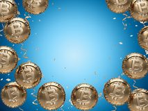 Shiny Bitcoin shaped balloons and empty copy space in the middle for important notice. Space for new price record concept. 3D illustration Royalty Free Stock Photos