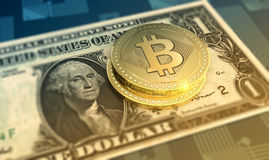 Shiny bitcoins crypto-currency background stock illustration