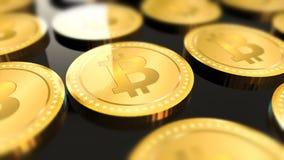 Shiny bitcoins crypto-currency background Royalty Free Stock Image