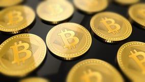 Shiny bitcoins crypto-currency background Stock Photos
