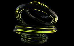 Shiny black abstract spiral form with green glowing stripes. Isolated on black background royalty free illustration