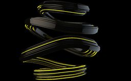 Shiny black abstract spiral form with yellow glowing stripes. Isolated on black background vector illustration