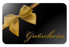 Shiny black gift card with gold colored ribbon and German word Gutschein stock illustration