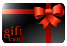 Shiny black gift card with red ribbon royalty free illustration
