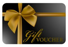 Shiny black gift voucher card with gold colored ribbon stock illustration