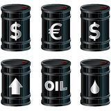 Shiny Black Oil Barrels With Symbols. A detailed vector set of glossy black oil barrels with currency and other symbols Royalty Free Stock Photography