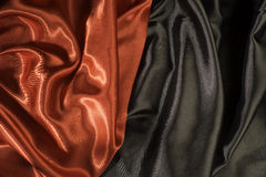 Shiny black and red satin fabric Royalty Free Stock Photography