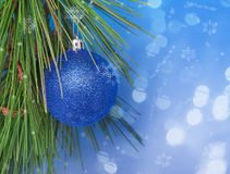 Shiny Blue Christmas ball Royalty Free Stock Photos