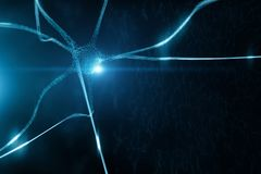 Shiny blue colored neuron cell. Conceptual shiny blue colored neuron cell in the brain on black cyber space illustration background royalty free illustration