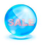 Shiny blue crystal with sale inside Royalty Free Stock Photography