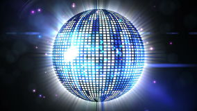 Shiny blue disco ball spinning around