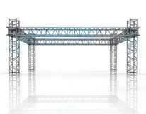 Shiny blue framework construction with steel columns Stock Image