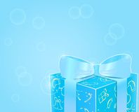 Shiny Blue Gift Box with Bow Royalty Free Stock Photo