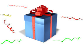 Shiny blue gift box with red bow Royalty Free Stock Photos