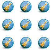 Shiny blue guitar icon assortment Royalty Free Stock Photography
