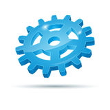 Shiny blue metal gears icon Stock Photography