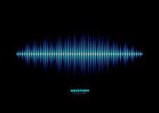 Shiny blue music waveform. Neon shiny blue music or sound waveform Stock Photo