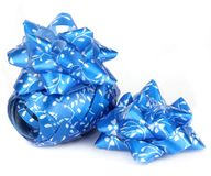 Shiny blue satin ribbon. Isolated on a white background Stock Images
