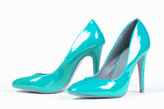 Shiny blue shoes Stock Images