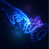 Shiny blue technology background. Shiny blue technology vector background with hand holding energy ball. EPS10 Stock Photo