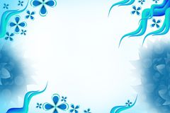 Shiny blue waves with flowers, abstract background Stock Photo