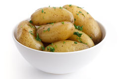 Shiny boiled small potatoes with parsley in bowl Royalty Free Stock Photos