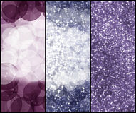 Shiny bokeh banners. Three vertical magic backgrounded banners Royalty Free Stock Photos