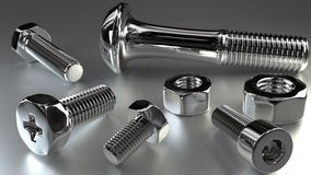 Shiny bolts and nuts Stock Image