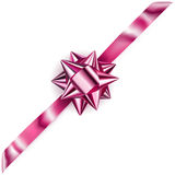 Shiny bow with diagonally ribbon Stock Photography