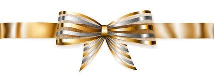 Shiny bow with horizontal ribbon. Beautiful striped golden shiny bow with horizontal ribbon with shadow Royalty Free Stock Image