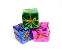 Shiny Boxes. Small shiny gift boxes Royalty Free Stock Image