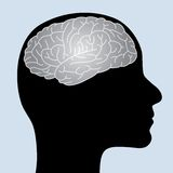 Shiny brain. Human profile with shiny brain Royalty Free Stock Photos