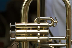 Shiny brass wind instrument Stock Photography
