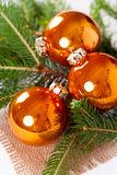 Shiny bright copper colored Christmas balls Stock Image