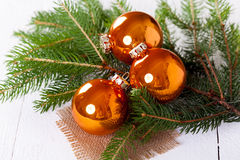 Shiny bright copper colored Christmas balls Royalty Free Stock Photography