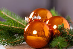 Shiny bright copper colored Christmas balls Stock Photos