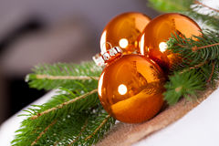 Shiny bright copper colored Christmas balls Royalty Free Stock Images