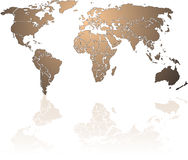 Shiny bronze World map Stock Photography