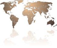 Shiny bronze World map stock illustration
