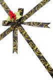 Shiny brown and gold satin ribbon Royalty Free Stock Photos