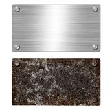 Shiny brushed metal aluminum or steel signboard. Rusty steel plate. Texture and background of polished shiny and rusty metal. Shiny brushed metal aluminum or stock photo